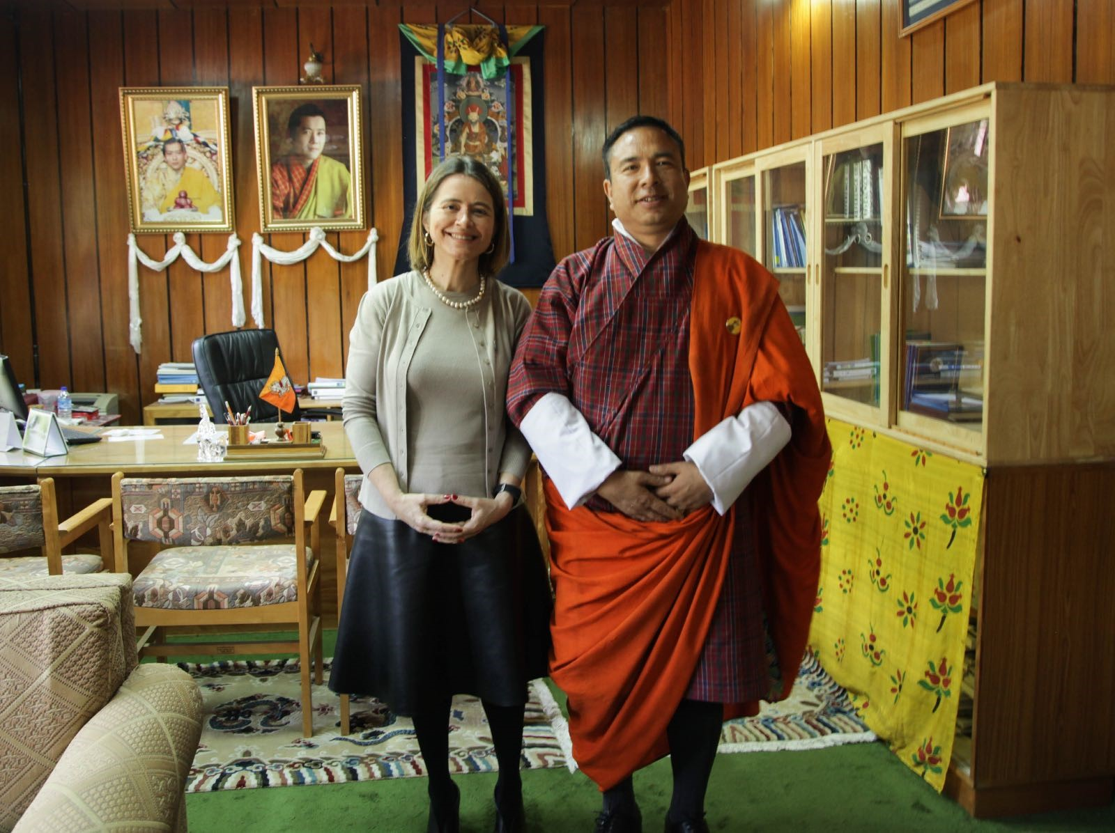 Mrs. de Albuquerque with His Excellency Lyonpo Namgay Dorji, Minister of Finance