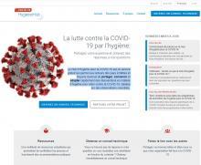 Capture d'écran - Site du Hub d'Hygiène pour la COVID-19