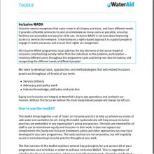 Inclusive WASH Equity and Inclusion Toolkit
