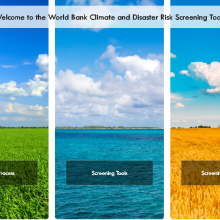 Screenshot of WB Climate Risk screening tools